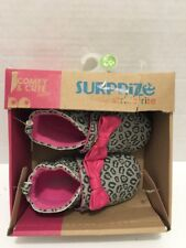 Surprize By Stride Rite Baby Infant Girl Grey Jessica Crib Shoes Size 6-12m