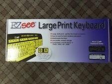 EZ SEE LARGE PRINT KEYBOARD CD1039 - WHITE KEYS ON BLACK BACKGROUND - NIB