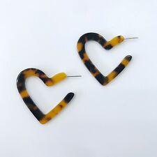 Acrylic Heart Tortoise Shell Hoop Drop Earrings
