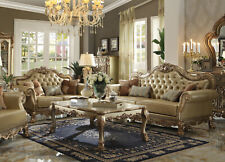 Traditional Gold Wood Trim Living Room Set Ivory Faux Leather Sofa Loveseat IGAB