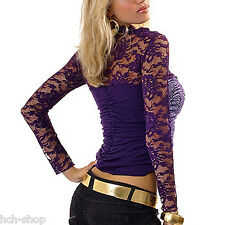 Stretch Raffshirt Top Shirt Sommertop langarm mit Spitze lila grau schwarz