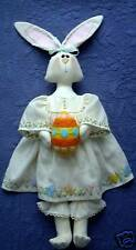 PRIMITIVE FOLK ART SEWING PATTERN 'HESTER BUNNY' RAG DOLL & FELT EASTER EGG