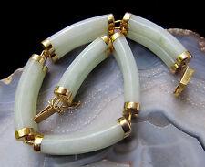 "Natural Celadon Green Jadeite Jade 14K Yellow Gold Tube Happiness Bracelet 7"""