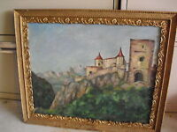 Vintage Oil Painting Castle Blatnicky on Mountain Signed E Hickson 1957