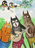 ACEO PRINT OF WATERCOLOR PAINTING RYTA TUXEDO CAT TABBY WHIMSICAL ART CROW MUSIC