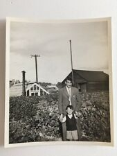 Vintage BW Real Photograph #AF : Man & Boy In Garden: Greenhouse Shed
