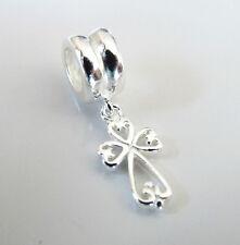 925 Sterling Silver 'Little CROSS'  Dangle European Charm Bead