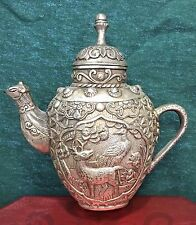 Lovely Little Tibetan Silver Mini-Teapot with Deer and Animal Motif