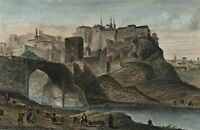 Toledo Spain city view Espagna c.1840-50 lovely engraved old hand color print