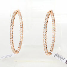 14K ROSE GOLD & 6.01 CTS. SPARKLING DIAMONDS LADIES INSIDE OUT HOOP EARRINGS