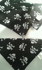 Slide on dog bandanas size M skull &crossbone. Polycotton handmade