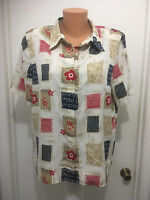 Alfred Dunner Petite squares short sleeve button blouse 16P