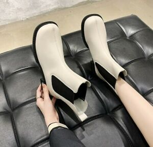 Womens Low Block Heels Pull On Ankle Chelsea Boots Outdoor Round Toe Biker Shoes