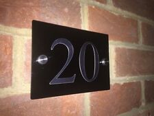 CHROME MODERN HOUSE SIGN GLOSS BLACK PLAQUE DOOR NUMBER CHROME!