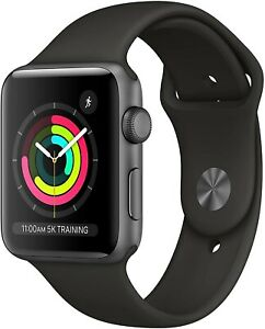 New Apple Watch Series 3 38 mm Smartwatch (GPS Only Gray Case Black) MTF02LL/A