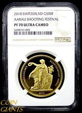 2010 Switzerland 500 Francs Proof NGC PF 70 Ultra Cameo AARAU SHOOTING FESTIVAL