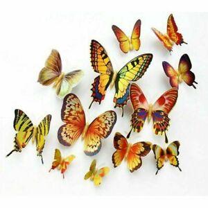 12 pcs 3D Butterfly Art Decal Home Decor PVC Butterflies Wall Mural Stickers 135