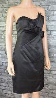 Elegant Plain Black Sleeveless Satin Look Pleated Prom Cocktail Evening Dress