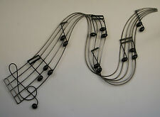 Metal Wall Art Decor Picture - MUSIC NOTES RIVER Black/Silver *New* Boxed