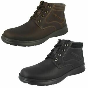 Mens Clarks 'Cotrell Rise' Black Or Brown Oily Leather Casual Lace Up Boots
