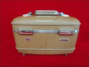 American Tourister Vintage Train Makeup Tan Case Mirror, Tray , No Keys