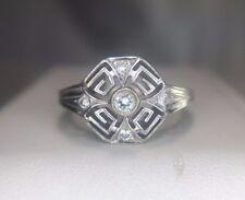 Vintage Deco 14k White Gold Round Brilliant Diamond Filigree Ring