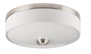 LED Flush Mount Ceiling Light Fixture w/ Fabric Drum & Glass Top Brushed Nickel
