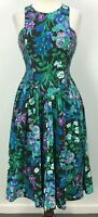 VTG 80s All That Jazz Blue Black Floral 100% Cotton Dress Womens Sz 7