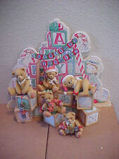 Cherished Teddies A Merry Christmas Set 5 Bears with Blocks Display & Backdrop
