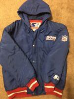 Vintage Starter Parka Jacket NFL New York Giants Football Men Size Medium Blue