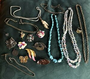 Good Old Costume Jewellery. Brooches,Turquoise,Crystal.Coin Ring Etc No Plastic.