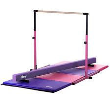 Pink Adjustable Kip Bar, Purple Practice Balance Beam, Pink/Purple Panel Mat