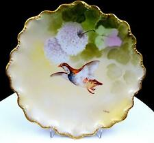 """CORONET LIMOGES FRANCE T BARIN FLYING QUAIL 9 1/2"""" CABINET PLATE 1906-1920"""