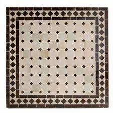 Marocain Table de Jardin Plateau à Thé Table En Mosaïque Beige/Brun Foncé