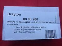 Drayton Manual RV Radiator Valve 15mm Angled c/w Lockshield & Drain Off 0808266