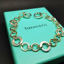 TIFFANY & CO SOLID STERLING SILVER 18K GOLD CIRCLES BRACELET - Real, Gorgeous