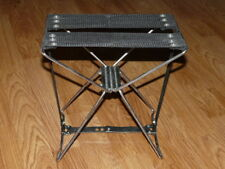 Vintage Folding Black Canvas Metal Frame Stool - Chair - Fishing Hunting Camping