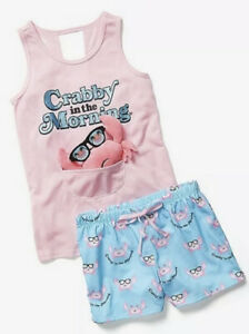 NWT Justice Girls Pineapple Tank Shorts Pajama Set With Squishy