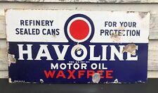 top quality HAVOLINE MOTOR OIL porcelain coated 18 GAUGE steel SIGN