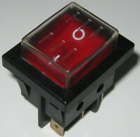 Defond Illuminated Red Rocker Switch - SPST with Dust Cap - 125V 15A - Lighted