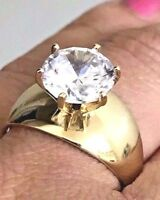 GOLD 14k ring 3 carat Solitaire Round simulate Diamond Engagement 7 4 5 6 8 9 10