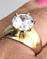 GOLD 14k ring 3 carat Solitaire Round simulated Diamond Engagement 7 5 6 8 9