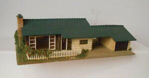 Vintage Faller HO 00 265 House Bungalow W/ Wooden Base Composition Stucco Putz