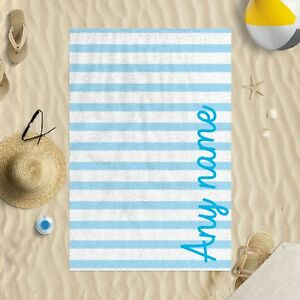 """58 x 39"""" Personalised Blue Stripes Any Name Script Font Microfibre Beach Towel"""