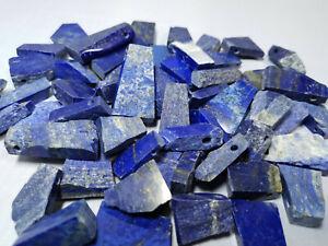 Lapis Lazuli Anhänger flach mit Loch - Edelstein aus Afghanistan - Handgefertigt