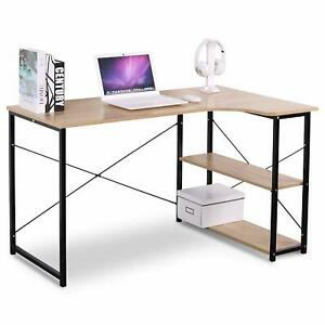 L-Shape Writing Desk Computer Desk Reading Table with 2 Storage Shelves