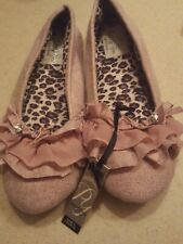 Pretty You London  PLUM Ballet  Slippers WOMENS Size L (US 8 - 9 ) NEW