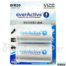 2 x everActive D Size Rechargeable batteries Silver Line 1.2V min 5000mAh Ni-MH