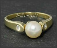 0,16ct Lupenreine & River D Diamant Brillanten & Perle Damen Ring aus 585 Gold