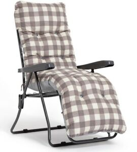 Padded Reclining Sun Lounger Brown - Outdoor Cushioned Garden Deck Chair Bed